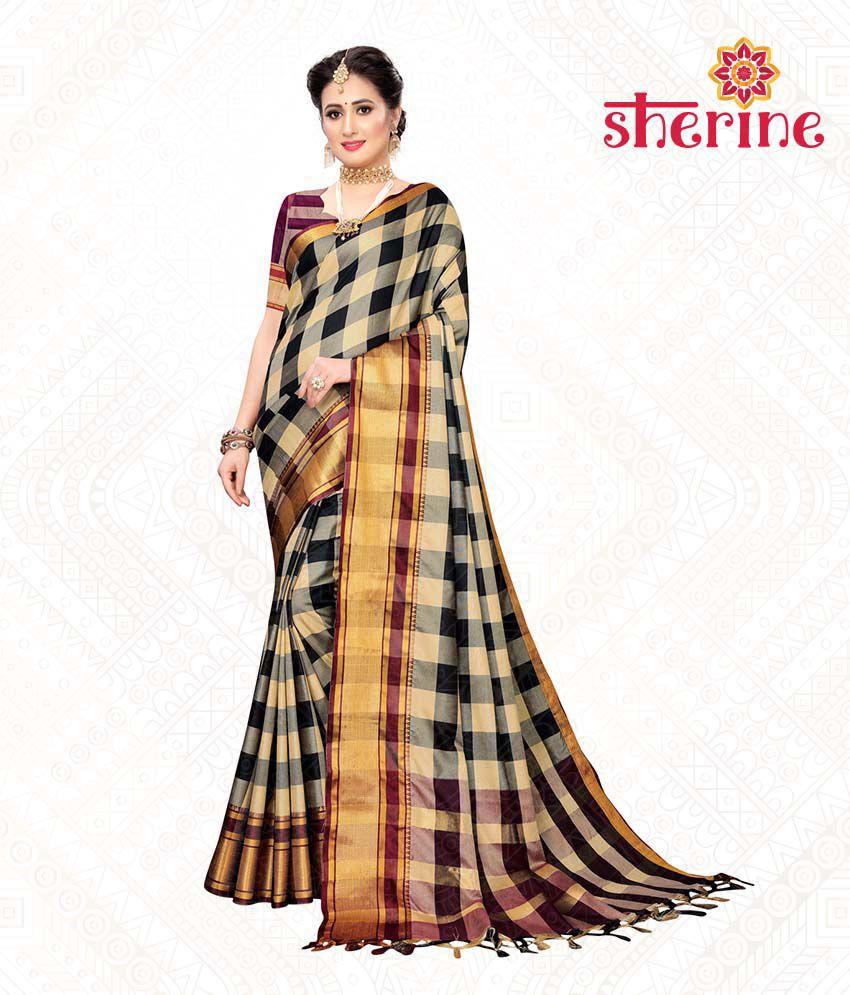 Sherine Beige Poly Cotton Silk Saree