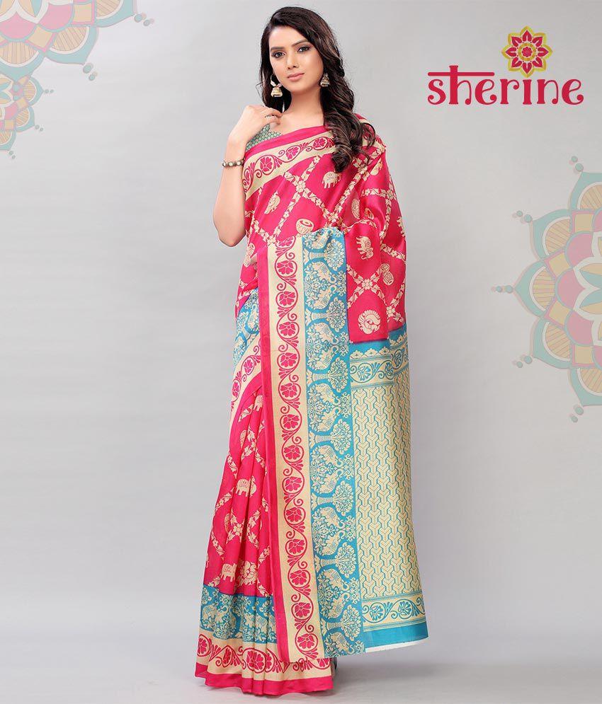 Sherine Pink Poly Art Silk Saree