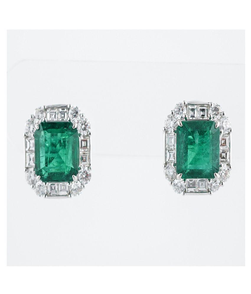 Natural Green Emerald Silver earrings for girls by Ratan Bazaar