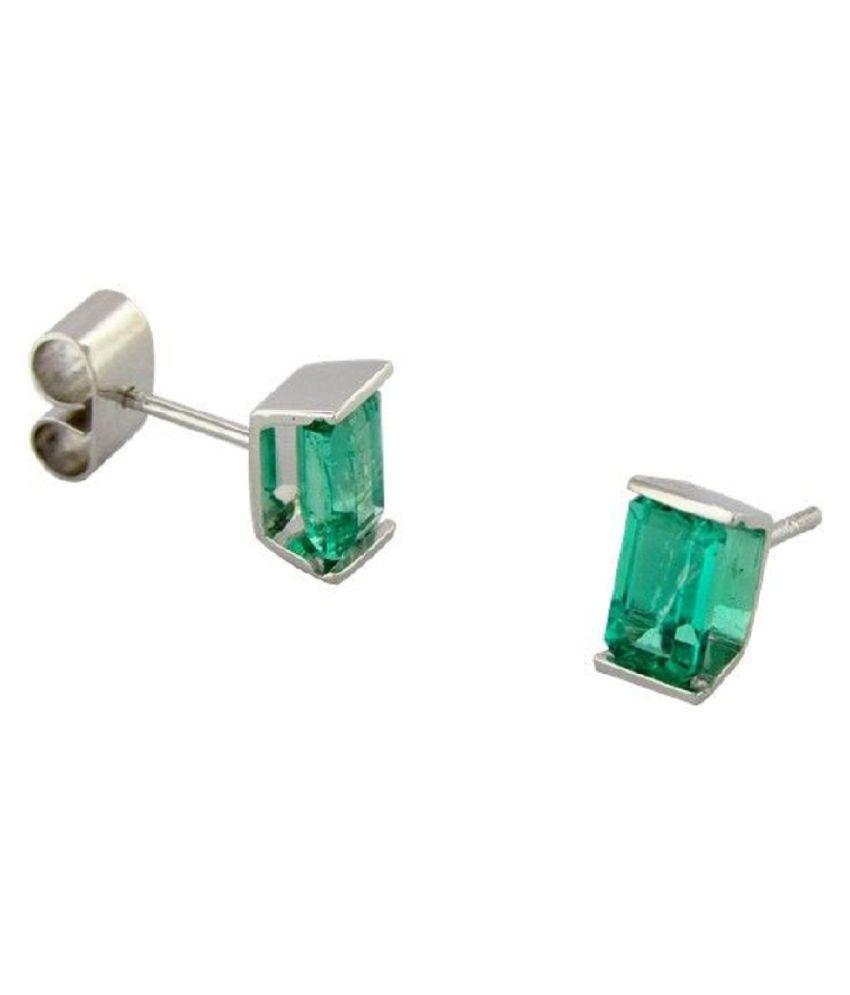 Ratan Bazaar -Natural Green Emerald Stud Earring Precious Stone Panna Silver Earring for Girls