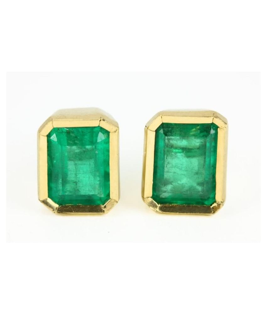 Unheated Stone Green Emerald (Panna) Stud Gold Plated Earrings Certified Stone panna Earring For Women by Ratan Bazaar