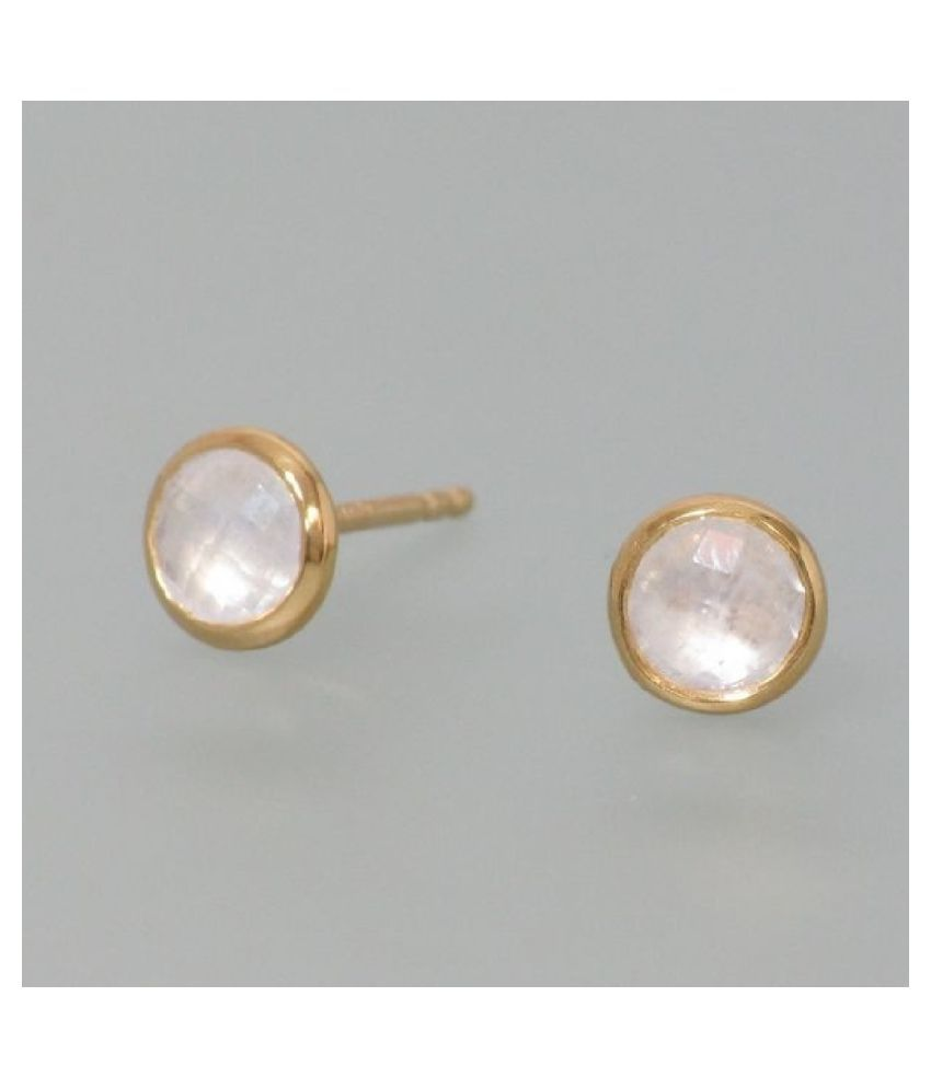 Natural MOONSTONE Stud Earring Precious   Gold Plated Earring for Girls by Kundli Gems
