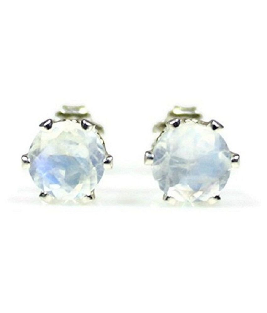 Ratan Bazaar - Studs Collection Sterling Silver MOONSTONE Stud Earrings for Women & Girls,