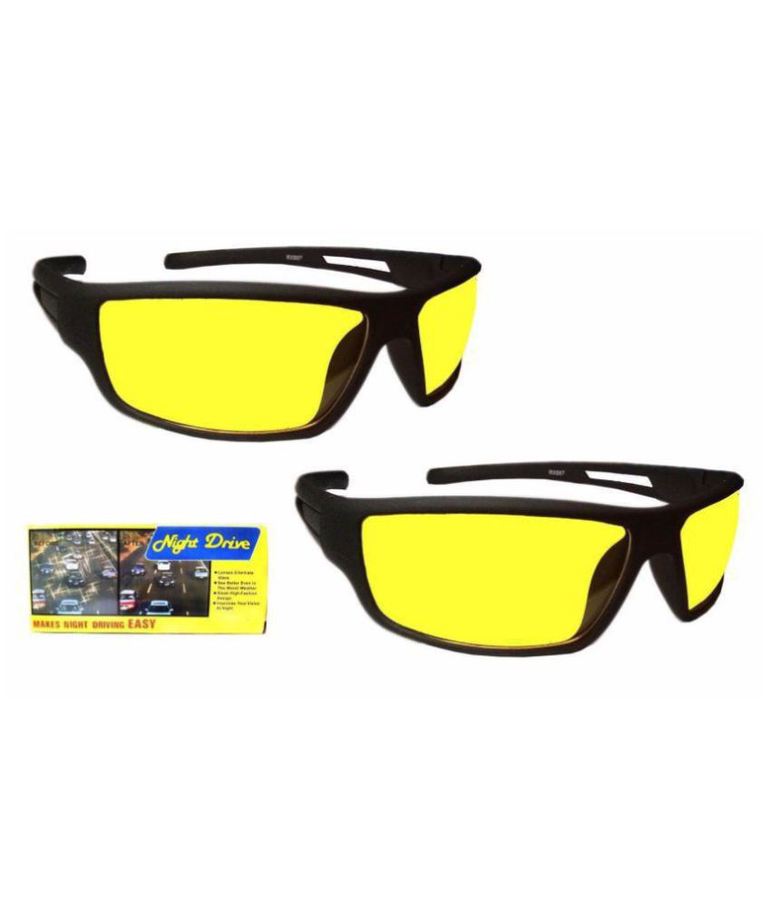 Polarized Sunglasses  Night Vision Glasses  (Yellow Box Set Of 2)  With 3 in 1 pen