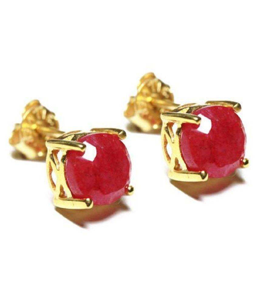 Ruby(Manik)  earring original Gold Plated earring for women & girls by Ratan Bazaar