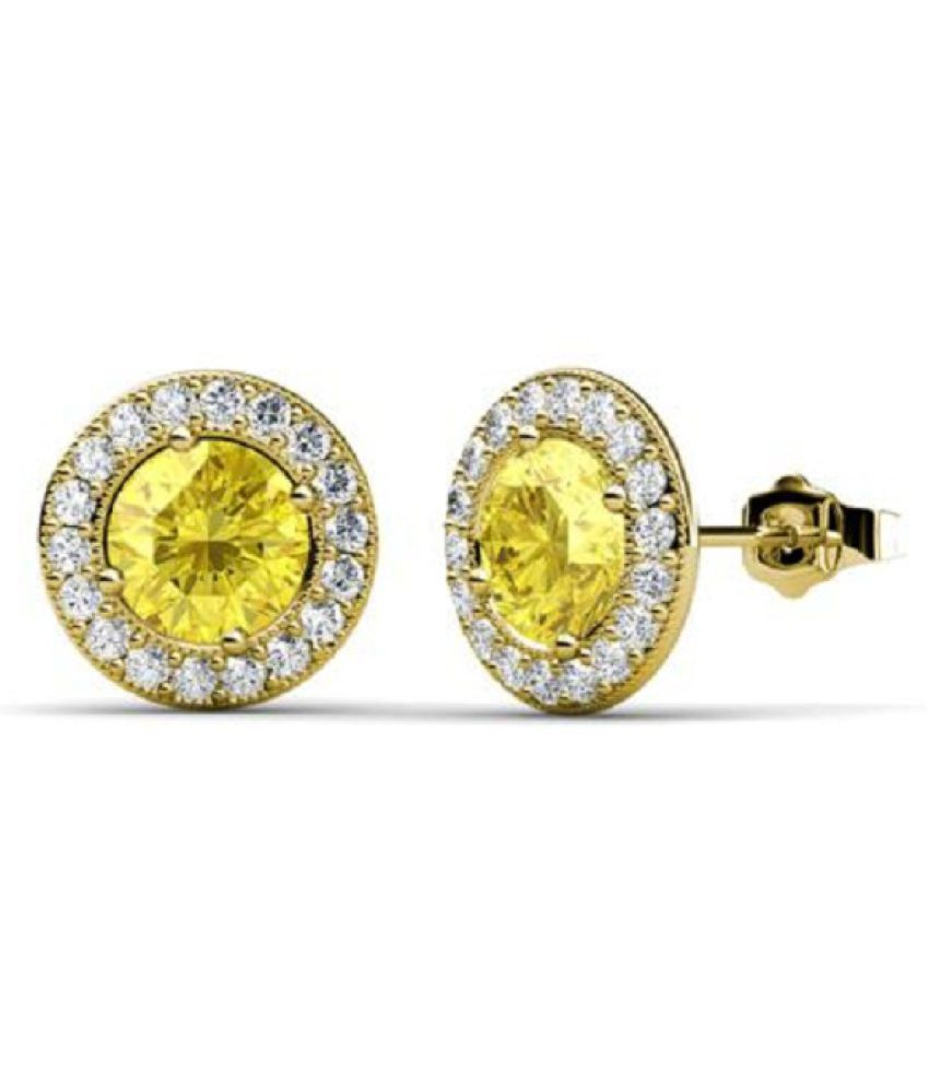 Sterling Silver with Natural  Yellow Sapphire(Pukhraj) stud earrings for girls by  RATAN BAZAAR