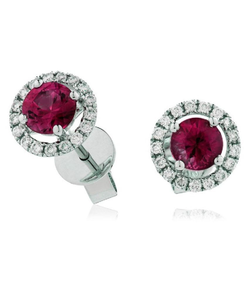 Studs Collection  Silver Ruby(Manik) Stud Earrings for Women & Girls,  by Ratan Bazaar