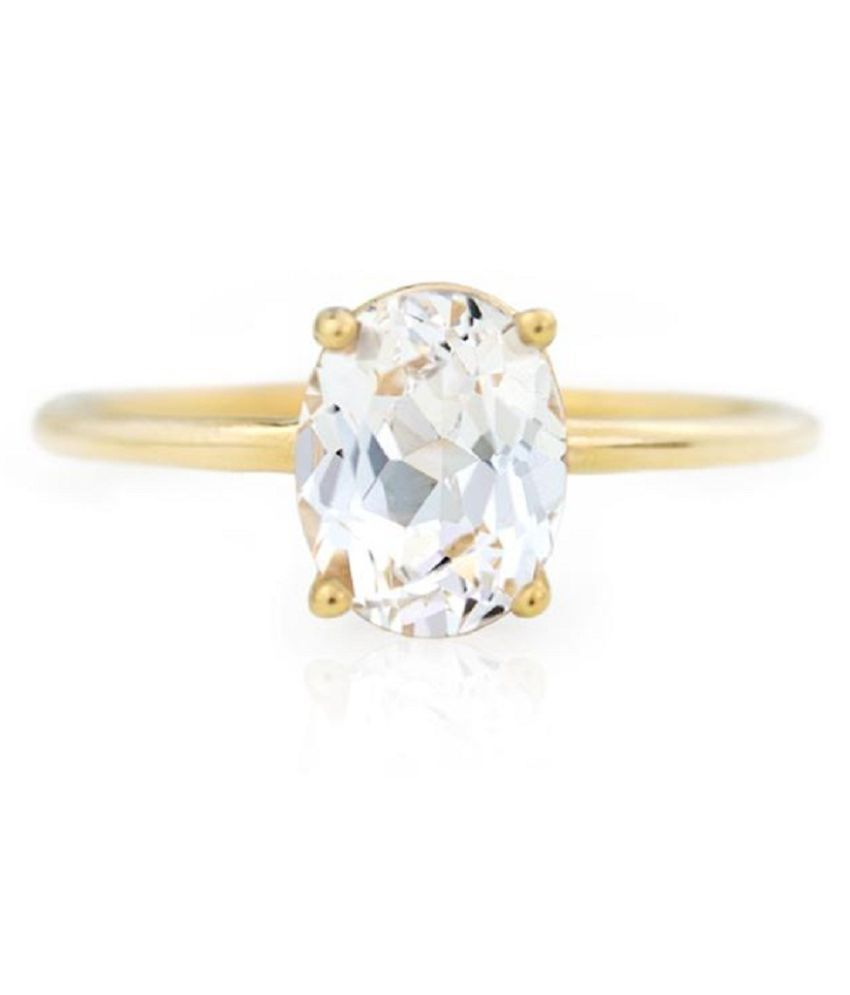 100% Natural 5 carat White Sapphire Stone Gold Plated Ring by  KUNDLI GEMS\n