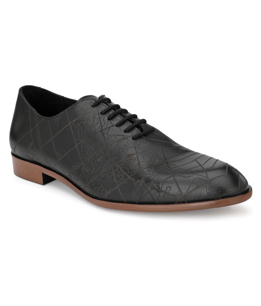 Delize Derby Genuine Leather Black Formal Shoes