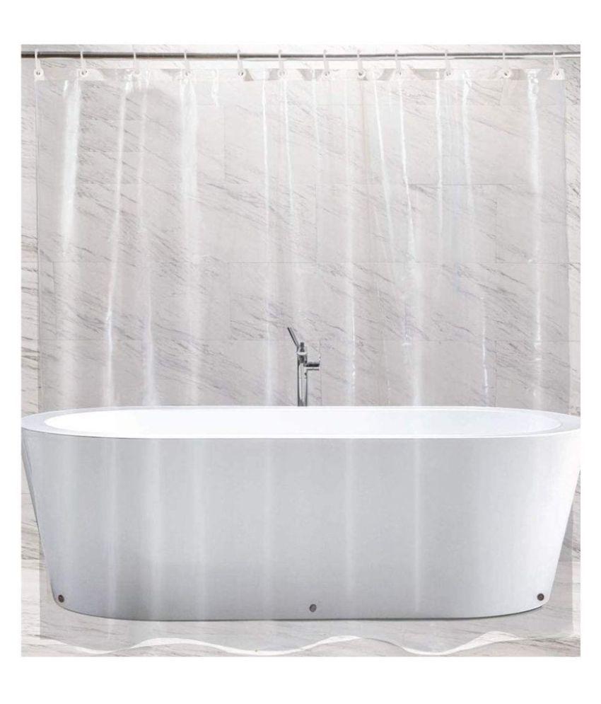 Fabfurn Set of 2 Door Transparent Ring Rod PVC Curtains White