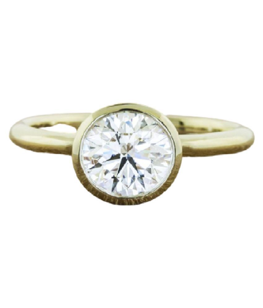 Original Natural Certified White Sapphire  5.25 Carat  Gold Plated Ring by KUNDLI GEMS