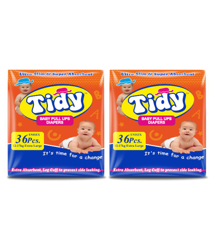 Tidy Baby Diapers Pants Extra Large, Pack of 2, 36 pcs