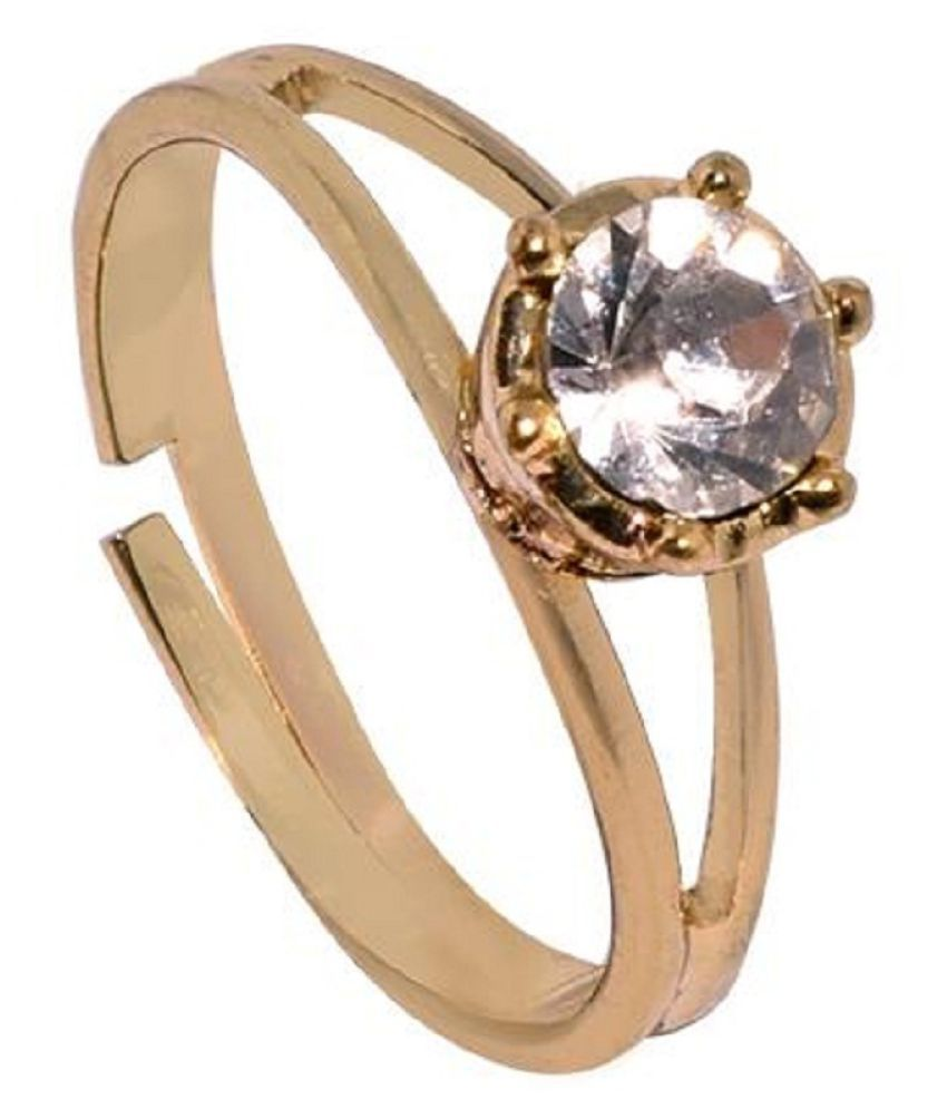 6.5 Carat  White Sapphire Ring with lab Report Gold Plated White Sapphire Stone by KUNDLI GEMS
