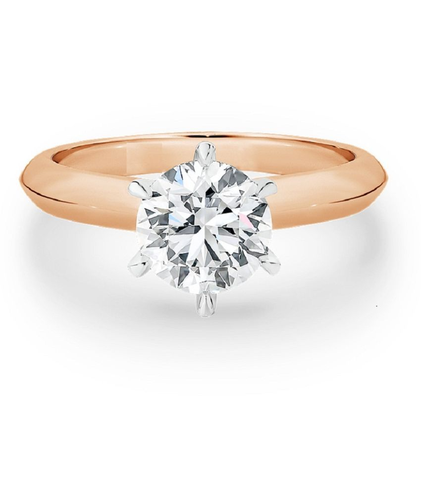 6.5 carat pure White Sapphire Gold Plated Ring by KUNDLI GEMS \n