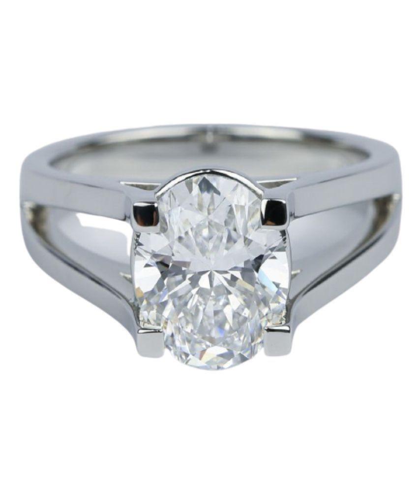 8.5 Carat White Sapphire Stone Silver Ring by Kundli Gems