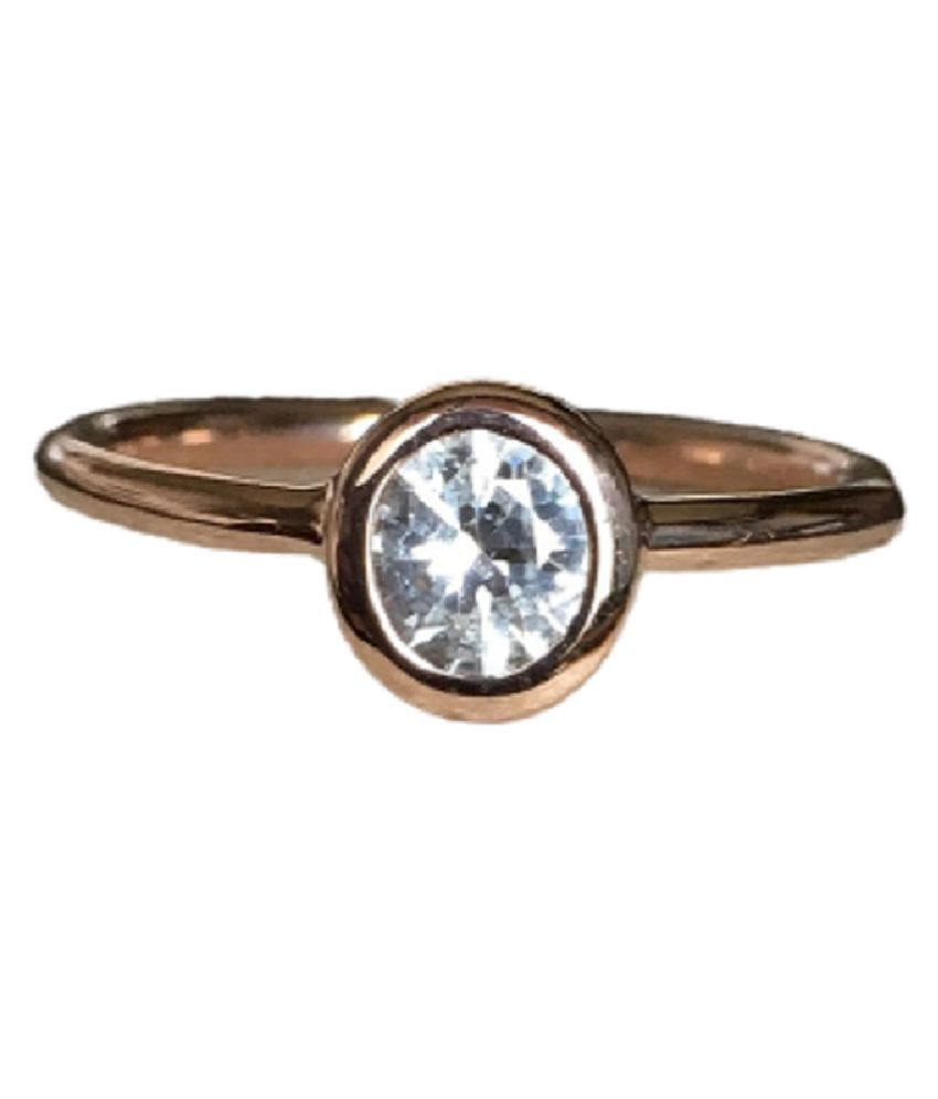 9.25 Carat  Ring with lab Report Gold Plated White Sapphire Stone Ring by KUNDLI GEMS
