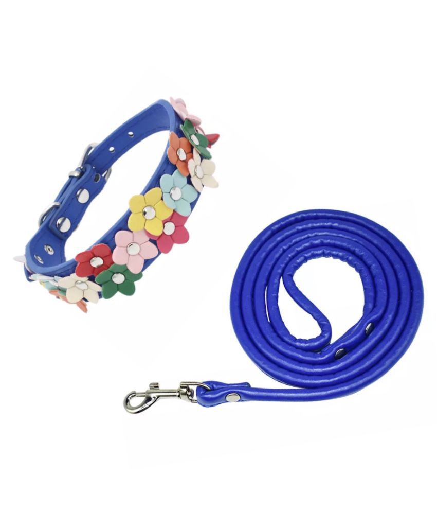KUTKUT PU Leather Culourfull Flower Studded Adjustable Collar and Leash Set For Dogs/ Cats ( Size: M)