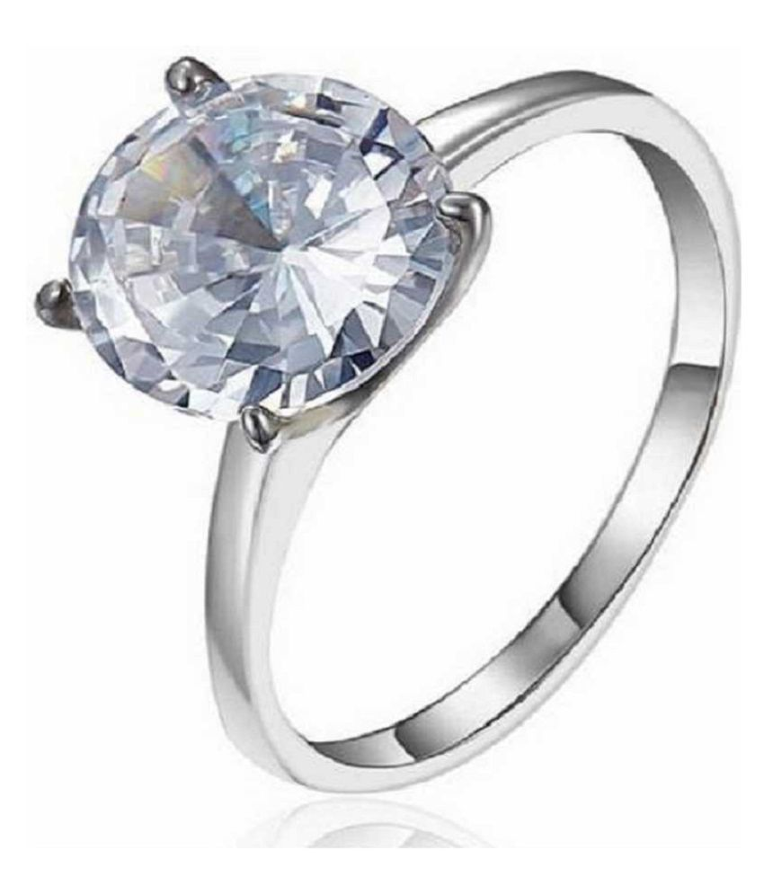 8.5 ratti Natural Lab certified White Sapphire silver Ring by  Ratan Bazaar\n