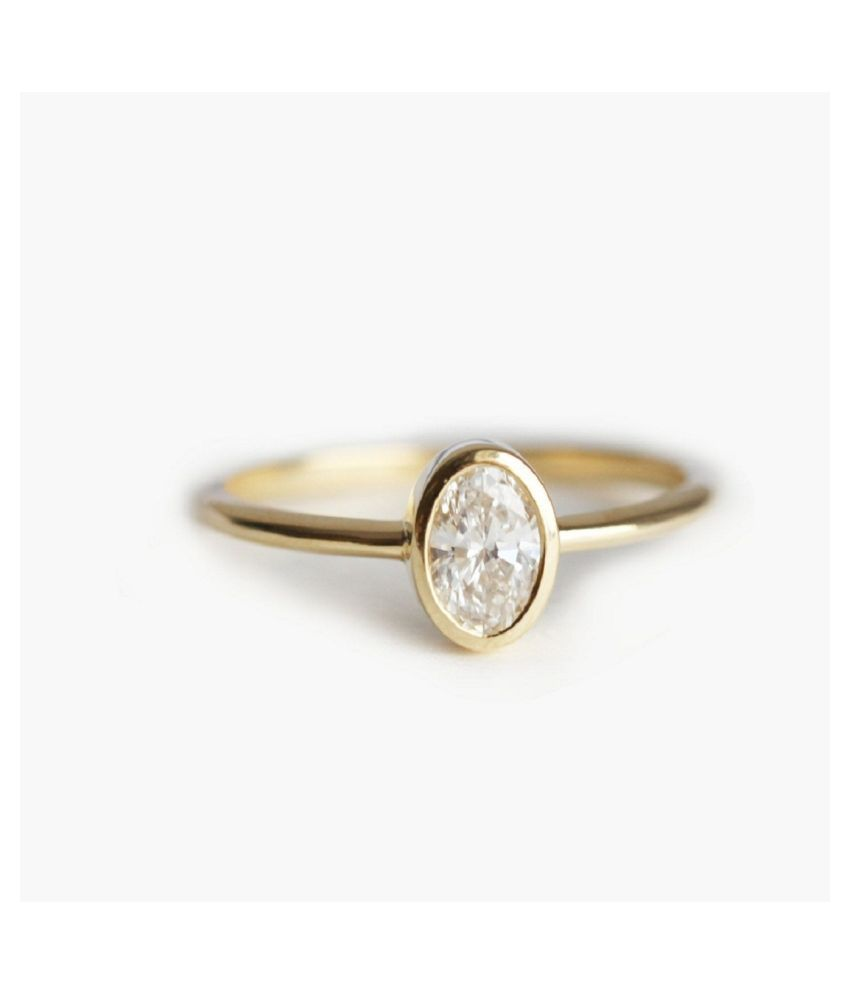 9.5 ratti stone pure White Sapphire Gold Plated Ring for unisex by Ratan Bazaar\n