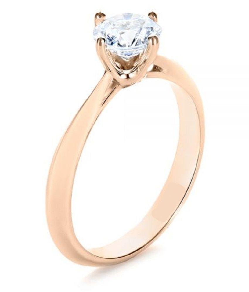 Original White Sapphire Unheated & Natural White Sapphire Gold Plated Ring by Ratan Bazaar