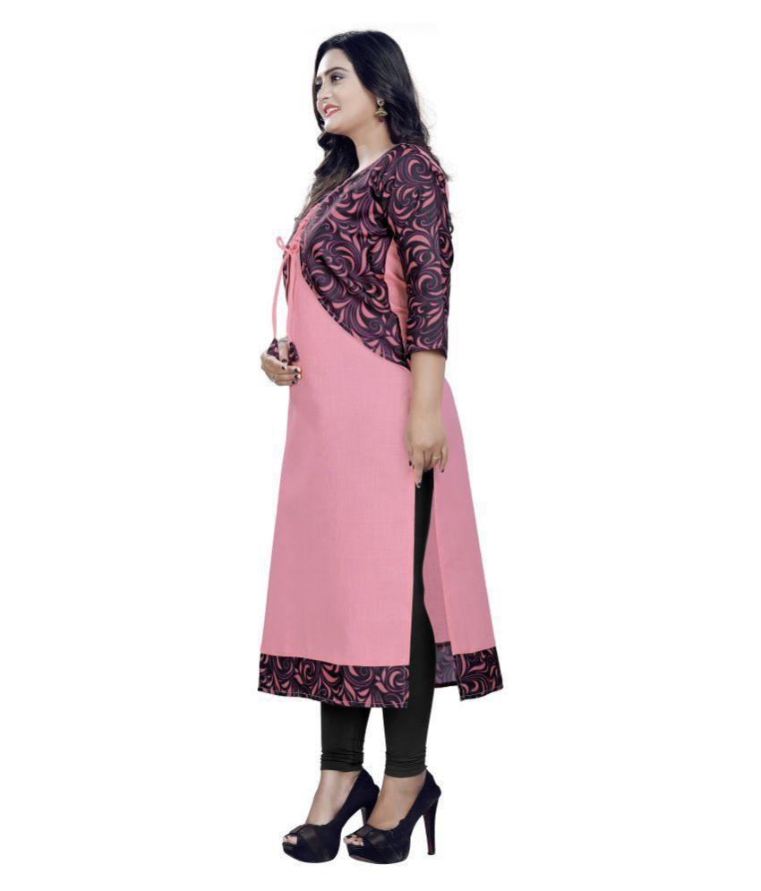 Sukhvilas Fashion Pink Crepe A-line Kurti