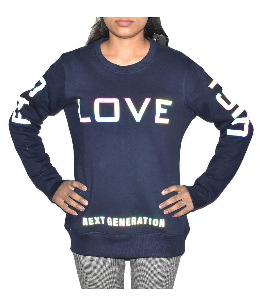 Swaggers Woollen Blue Non Hooded Sweatshirt