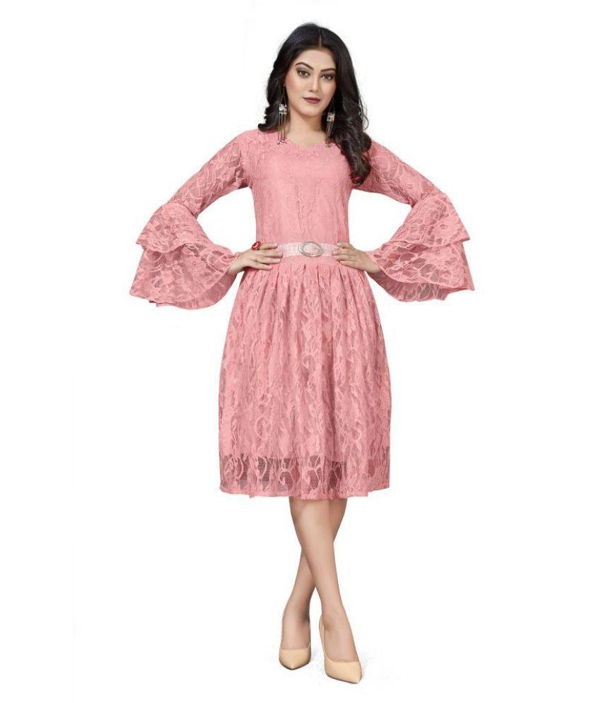 SK Creation Polyester Pink Skater Dress