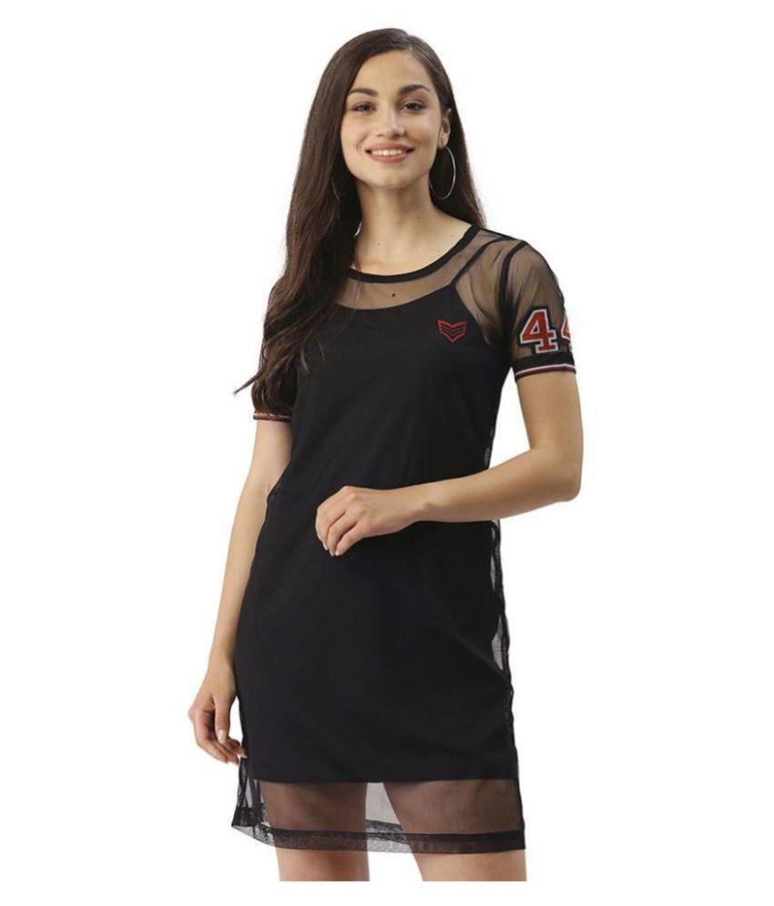 Trend Arrest Polyester Black T-shirt Dress