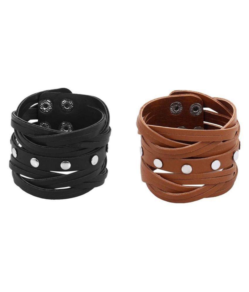 VellaFashion Combo Of Leather Bracelet 8 inch Wrist Band Black & Brown Set Cuff For Boys/Men.
