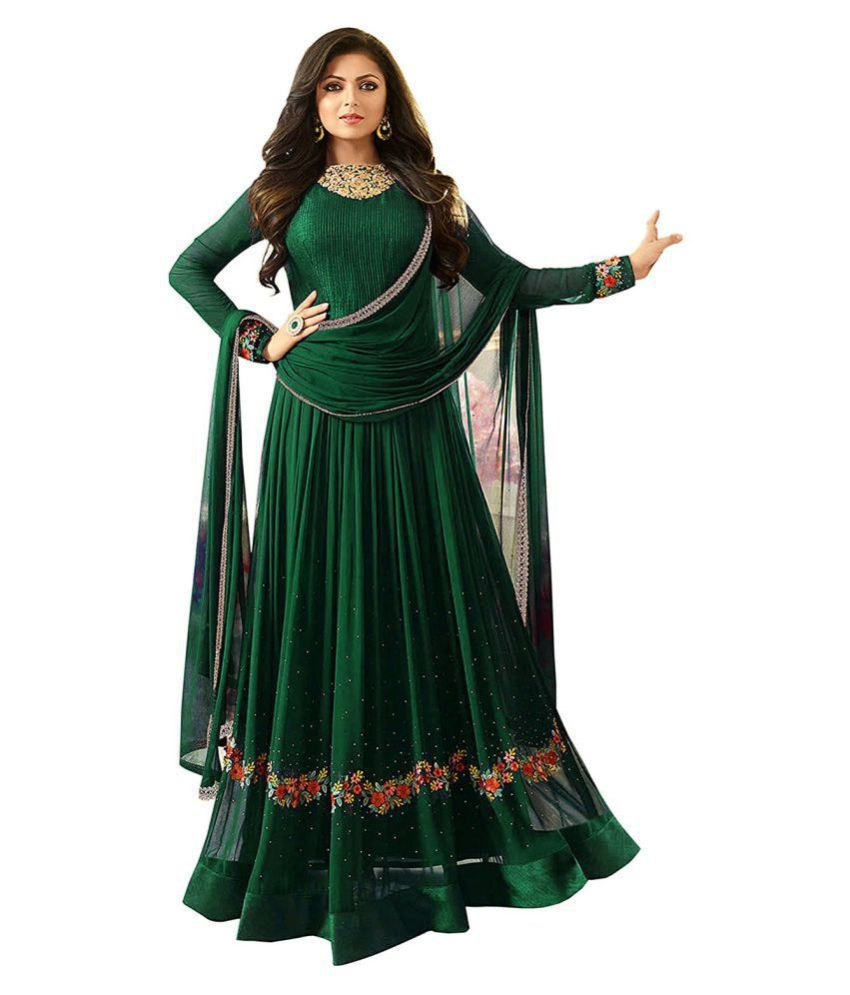 JOGMAYA FASHION Green Georgette Gown