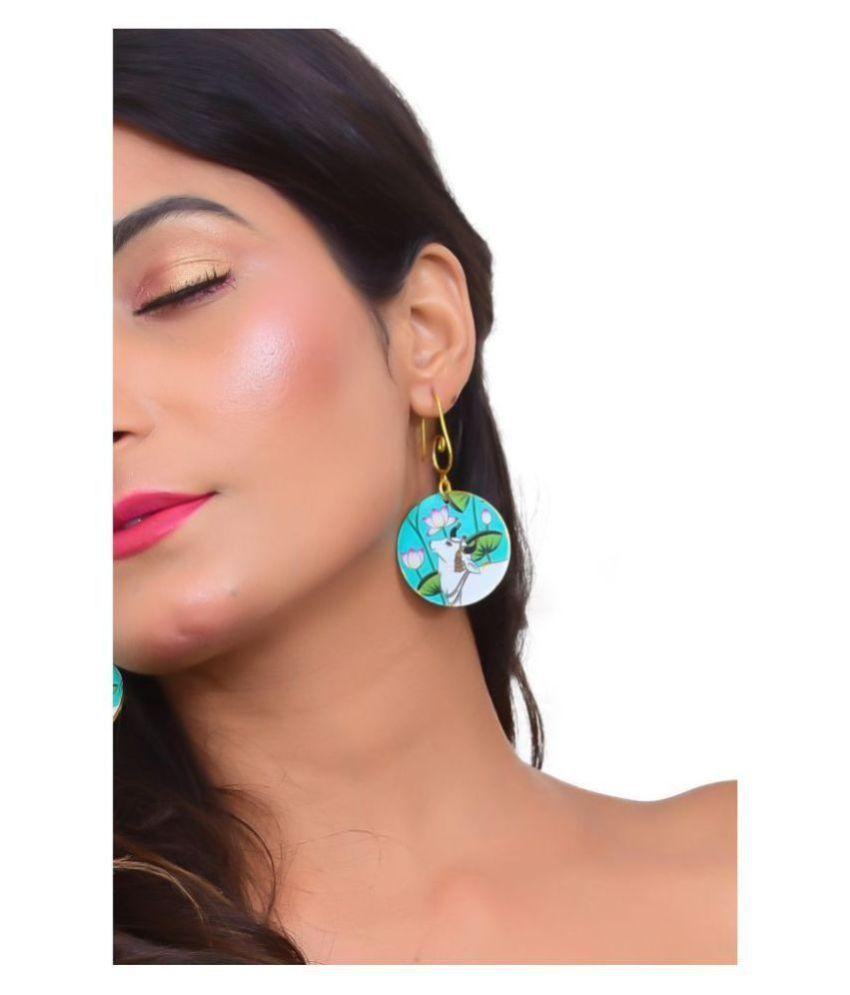 Madhubani Turcoise Blue Cow Dangling Earrings