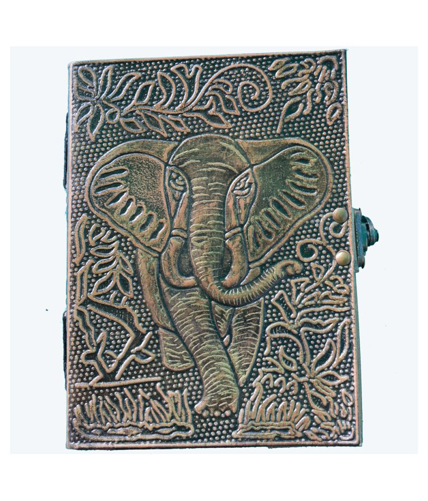 Mighty Wild Elephant Leather Journal Metallic Look, 8 x 6 Inch