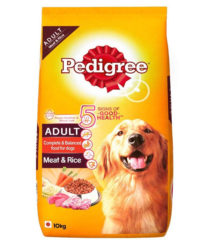 Pedigree Adult Dry Dog Food, Meat & Rice, 10kg