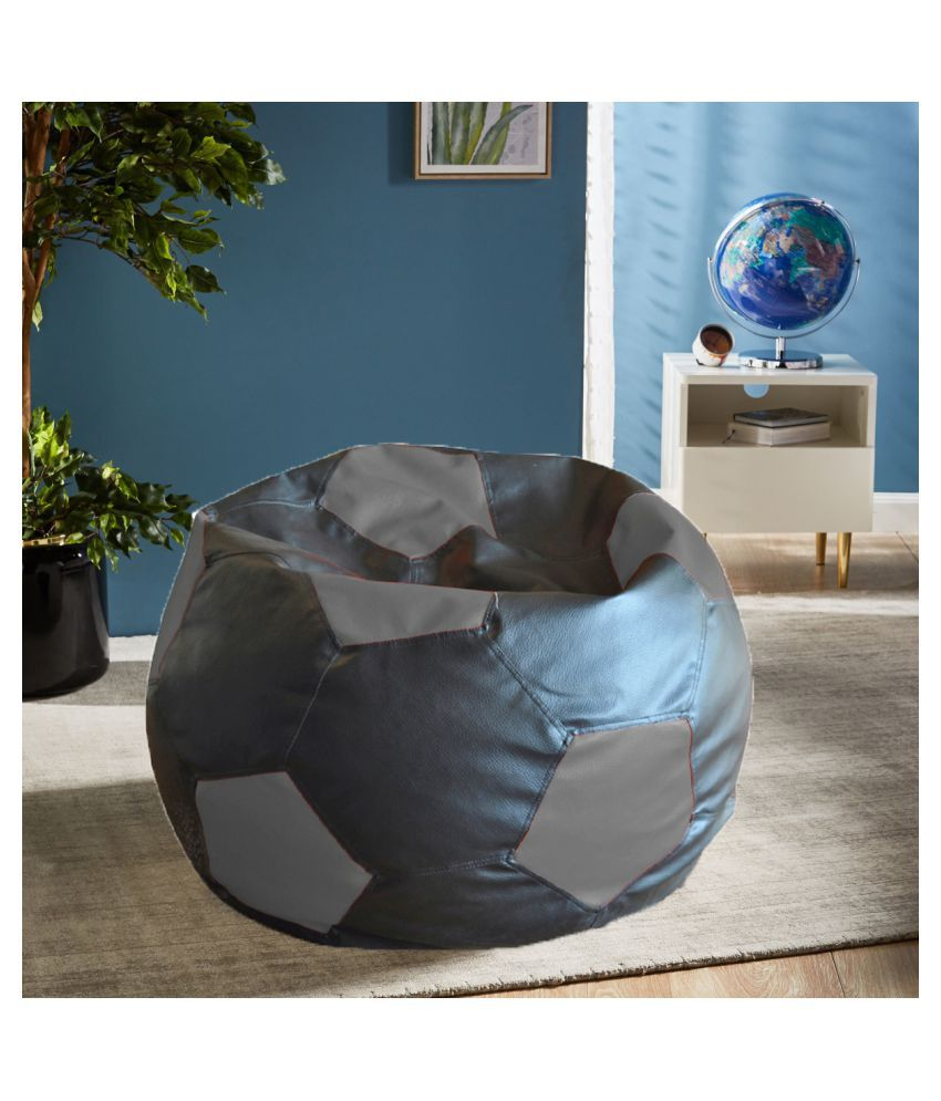 Style Homez Premium Leatherette Football Bean Bag XXL Size Black Grey Color, Cover Only