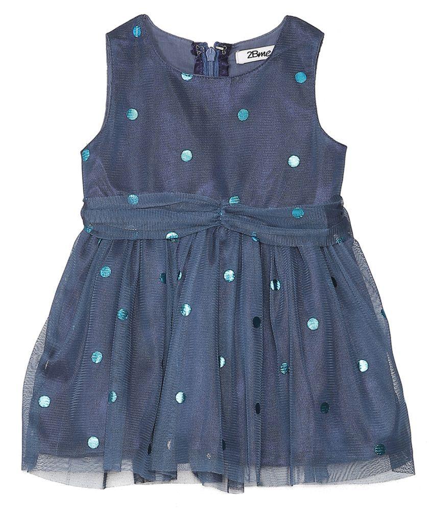 2Bme Infant Girl's Cotton Solid Navy Blue Dresses
