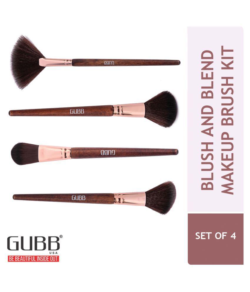Gubb Blush And Blend Kit Set Of 4 (Powder, Blush, Foundation, & Fan Brush) Synthetic Foundation Brush,Fan Powder Brush,Blusher Brush 4 Pcs 115 g