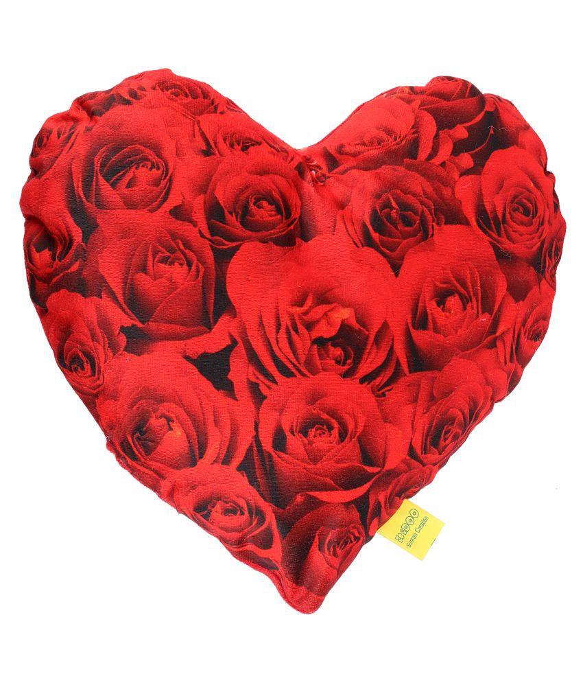 100% Polyester Heart Shape Big Rose Design Cushion (32*34CM)