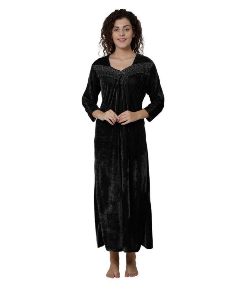 Gospel Velvet Night Dress - Black