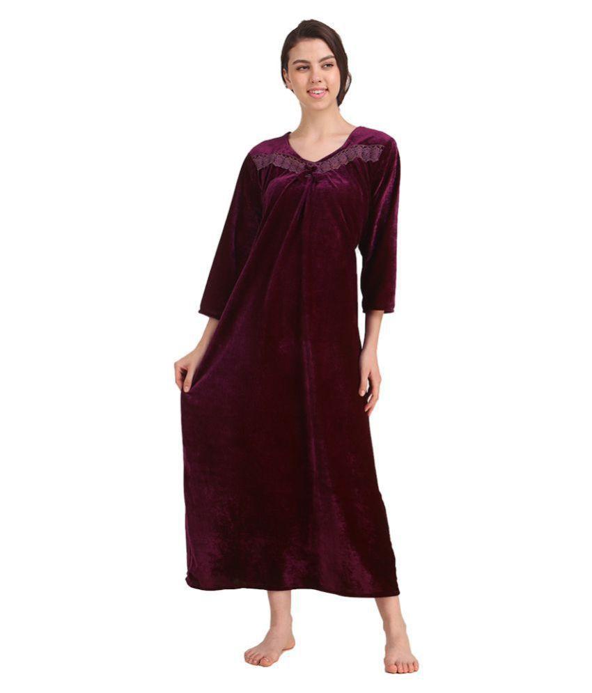 Gospel Velvet Nighty & Night Gowns - Purple