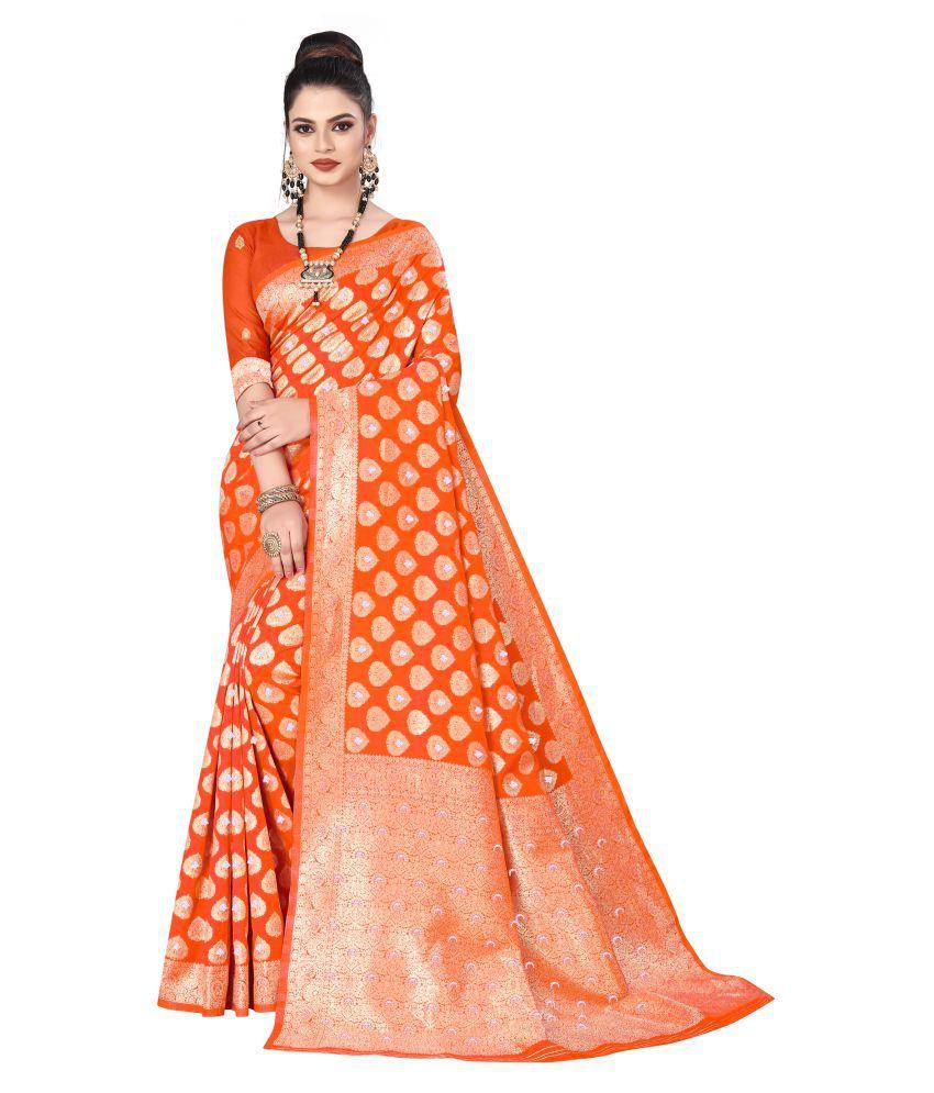 Swassy Fab Orange Banarasi Silk Saree