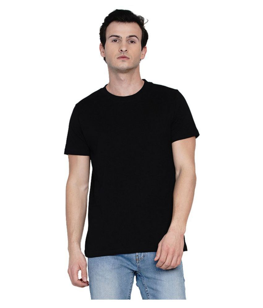 Knits and Weave 100 Percent Cotton Black Solids T-Shirt