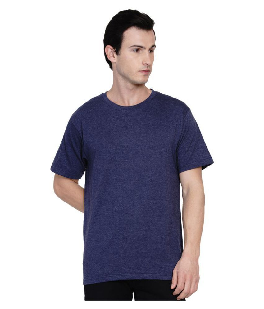 Knits and Weave 100 Percent Cotton Navy Solids T-Shirt