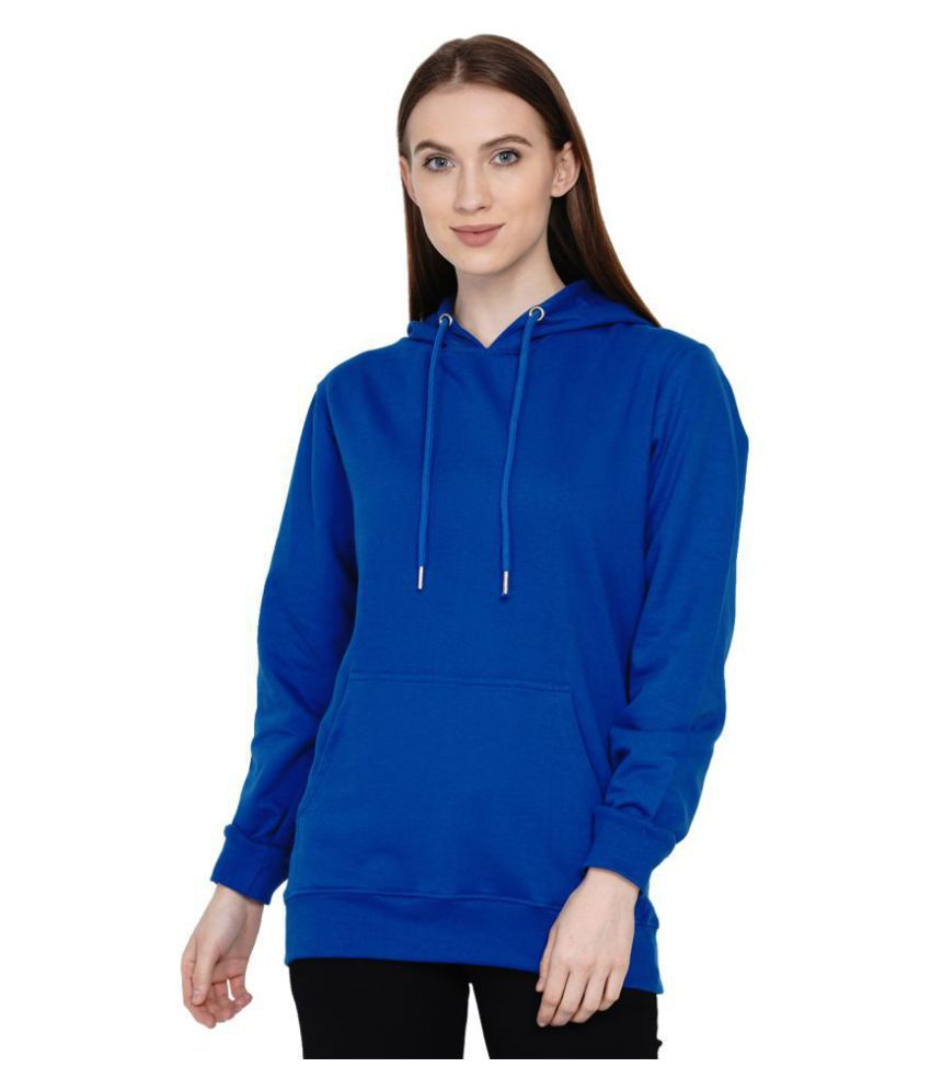 Knits and Weave Cotton - Fleece Blue Hooded Sweatshirt