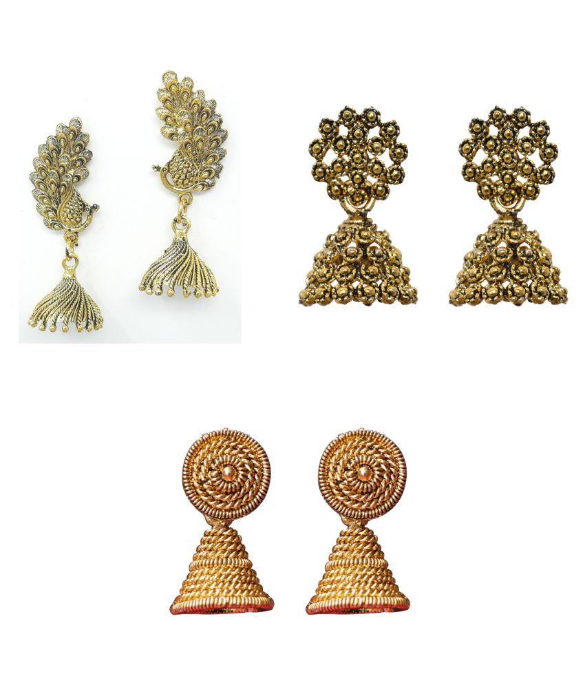 Jaishree Jewels Golden Traditional Partwear Bollywood Style Jhumki Earring Combo set of 3