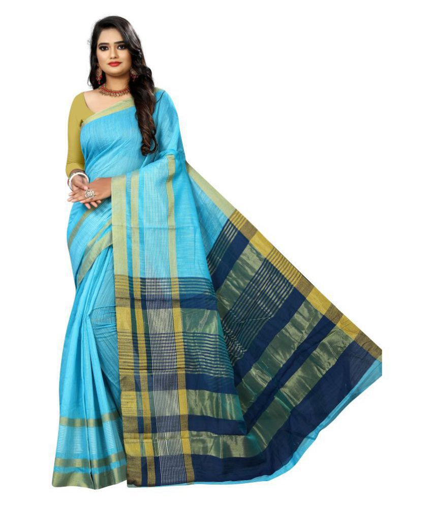 Pretty MMME Blue Cotton Silk Saree