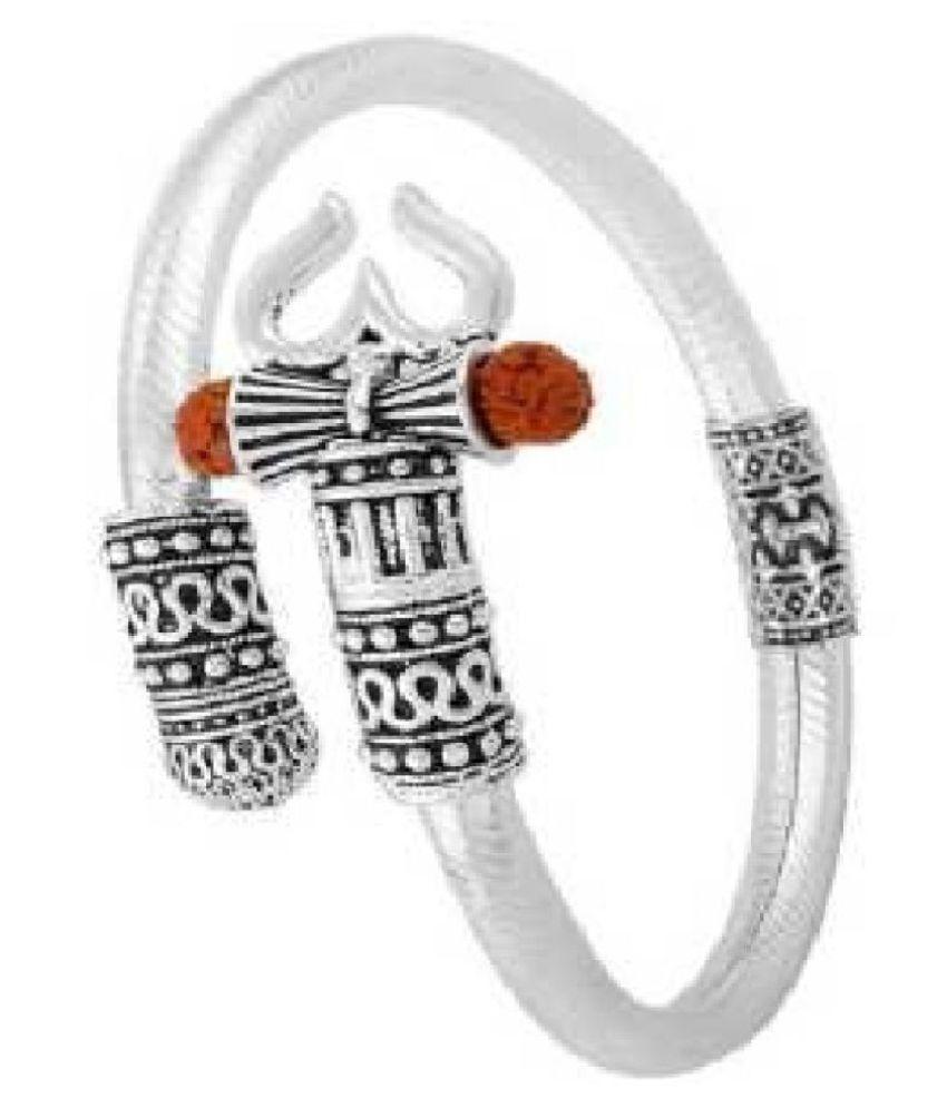 Ratan Bazaar - Men's Rudraksha Shiv Trishul Damroo Silver Bahubali Kadas Unisex Bracelet for Men & Women Boy design Bracelet, Kada