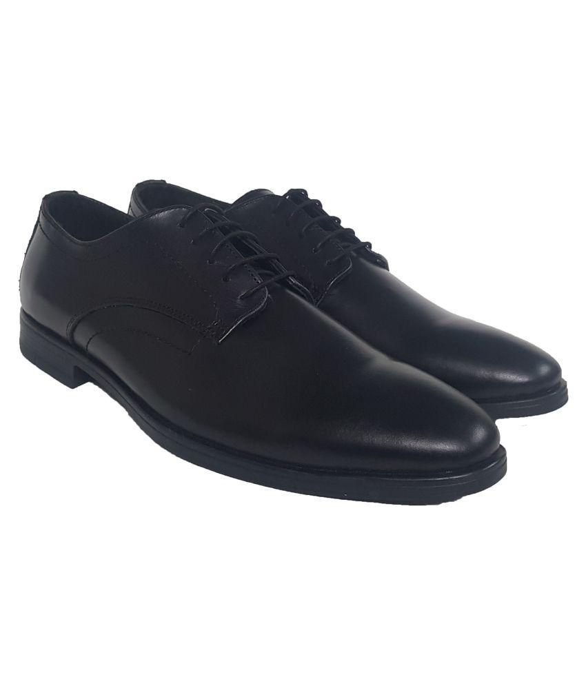 ZUXIO Derby Genuine Leather Black Formal Shoes
