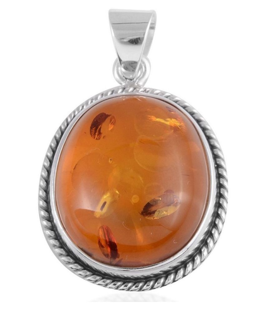 5 Ratti Amber Pendant With Natural  silver Pendant by Ratan Bazaar