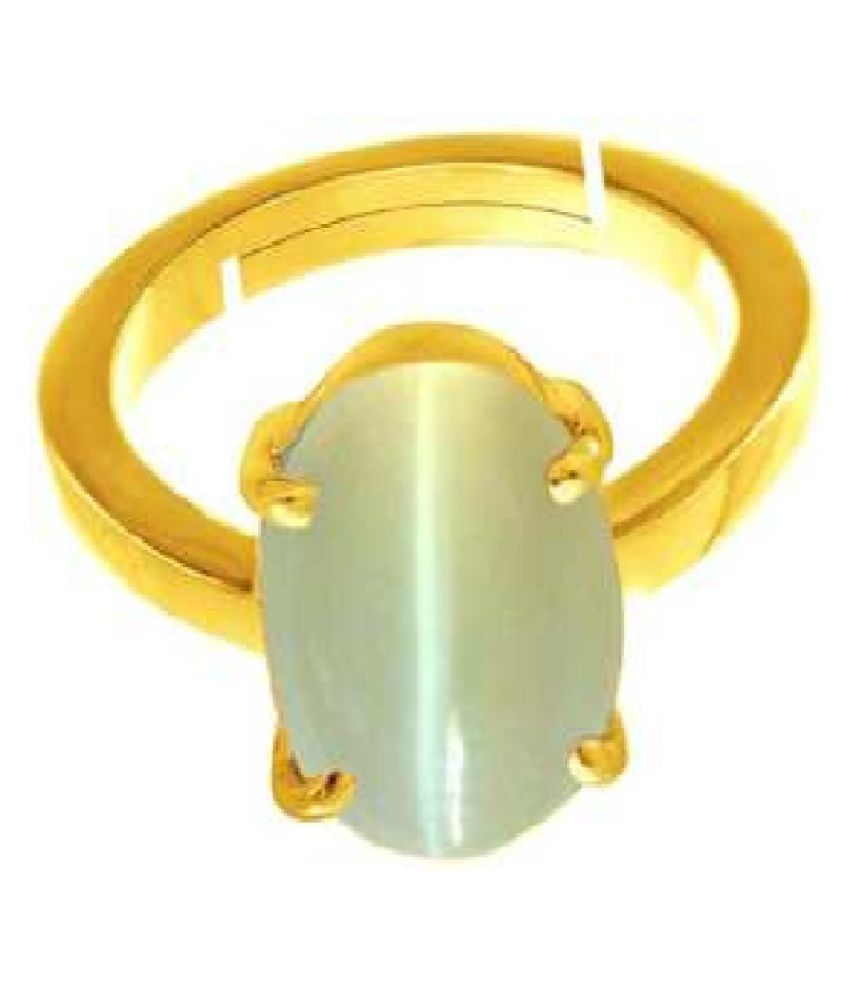 6.5 Carat Stone Cat's Eye Gold Plated Ring for unisex by KUNDLI GEMS\n