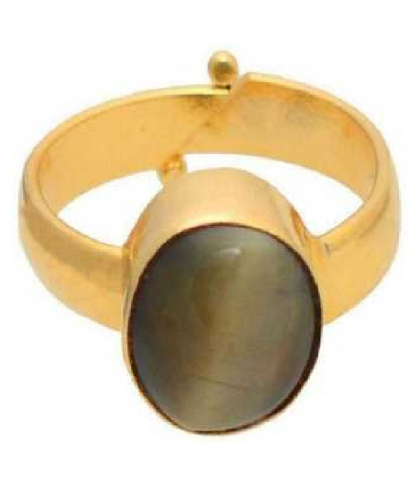 8.5 Ratti Cat's Eye Gold Plated Ring for Unisex by Ratan Bazaar\n